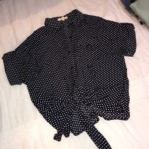 navy polka dot front tie button down